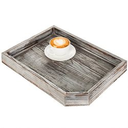MyGift Vintage Distressed Brown Wood Breakfast Coffee Table Tray, Office Desktop File, Mail, Doc ...