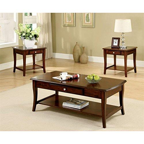 Furniture of America 3-Piece Lensar Table Set, Dark Oak Finish
