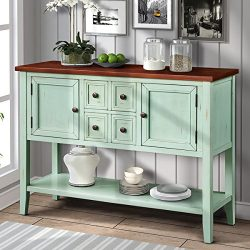 Harper&Bright Designs Cambridge Series Buffet Sideboard Console Table with Bottom Shelf (Ant ...