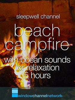Beach Campfire with ocean sounds for relaxation 5 hours
