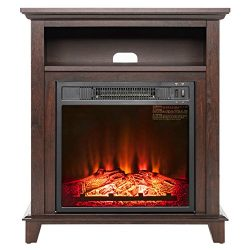 AKDY 27″ Electric Fireplace Freestanding Brown Wooden Mantel Firebox 3D Flame w/Logs Heater