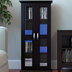 "Ryan Rove Kirkwell 41"" Wood Bookcase Multimedia Organizer Shelf DVD Media Storage Tower with Doo ..."