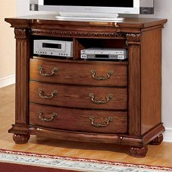 247SHOPATHOME IDF-7738TV-DR Television-Stands, Oak