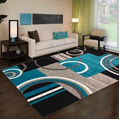 Golden Rugs Platinum Collection 500,000 Thread count Soft Black-Turquoise Hand Carved – Modern C ...
