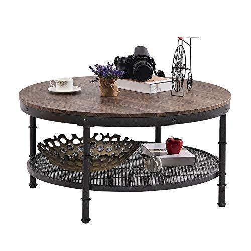 GreenForest – Coffee Table Round Wooden Design Metal Legs for Living Room, Walnut