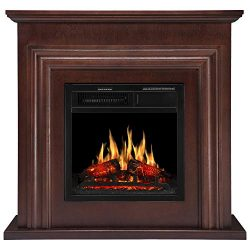 JAMFLY Wood Electric Fireplace Mantel Package Freestanding Heater Corner Firebox with Log Hearth ...
