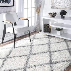nuLOOM Cozy Soft and Plush Diamond Trellis Shag Area Rug, White, 4′ x 6′