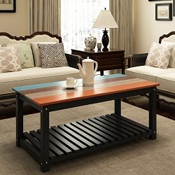 Coffee Table Wood, LITTLE TREE 48″ Colorful Real Solid Wood Living Room Center Table, 4-Co ...