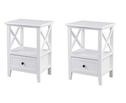 Giantex Nightstand Set of 2 End Tables W/Storage Shelf and Wooden Drawer for Living Room Bedroom ...
