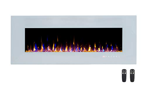 3GPlus Electric Fireplace Wall Mounted Heater Crystal Stone Flame Effect 3 Changeable Color Fire ...
