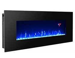 3GPlus Electric Fireplace Wall Mounted Heater Crystal Stone Fuel Effect 3 Changeable Flame Color ...