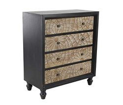 Deco 79 39882 Traditional Wood and Metal Four-Drawer Cabinet, 14″ W x 34″ H, Black,  ...