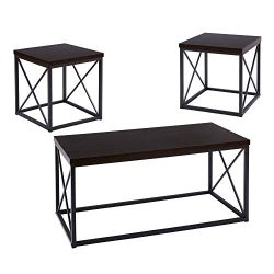 FIVEGIVEN 3 Piece Coffee Table Set Modern Industrial for Living Room Black Walnut