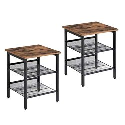 VASAGLE Vintage Nightstand, Set of 2 Side Tables, End Table with Adjustable Mesh Shelves, for Li ...