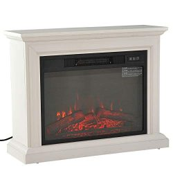HOMCOM 31″ 1400W Freestanding Portable 3D LED Electric Fireplace Mantel Heater Stove &#821 ...