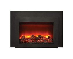 Amantii Electric Fireplace Insert with Black Surround/Overlay (INS-FM-34), 34-Inch