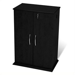Bowery Hill 34″ Locking CD DVD Media Storage Cabinet in Black