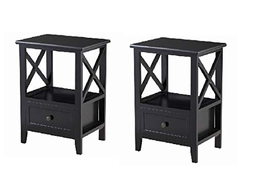 Giantex Nightstand Set Of 2 End Tables W/Storage Shelf And