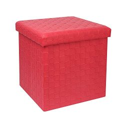 B FSOBEIIALEO Storage Ottomans, Faux Leather Footrest Stool, Storage Box Cube Toy Chest, 15̸ ...