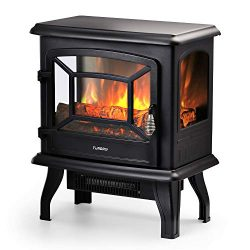 TURBRO Suburbs TS20 Electric Fireplace Stove, CSA Certified Freestanding Heater with Realistic L ...