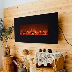 FLAME&SHADE Electric Fireplace with Heater – 42″ Flat Panel – Free Standin ...