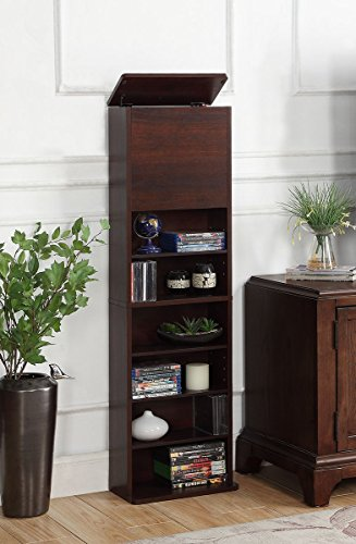 AIMHOME Quinn Multimedia Storage Combination Cabinet, Deep Walnut