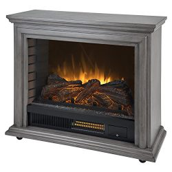Pleasant Hearth Dark Weathered Sheridan Mobile Infrared Fireplace-Grey