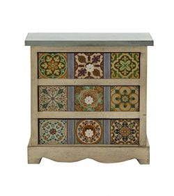 Deco 79 56650 Wood Canvas Table Chest, 14″ x 14″