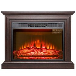 AKDY 32″ Electric Fireplace Freestanding Brown Wooden Mantel Firebox 3D Flame w/Logs Heater