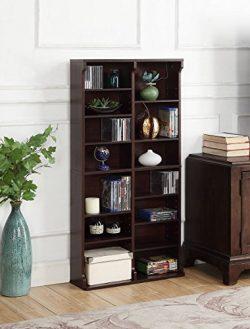 AIMHOME Rowan Multimedia Storage Cabinet, Deep Walnut