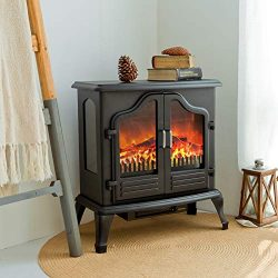 FLAME&SHADE Small Electric Fireplace, Stove Heater with Realistic Wood Flame, Portable, Free ...