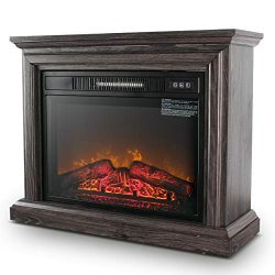DELLA 1400W Embedded Electric Fireplace Insert Freestanding Heater w/Remote Control Glass View L ...