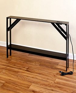 The Lakeside Collection Skinny Sofa Table with Outlet – Black