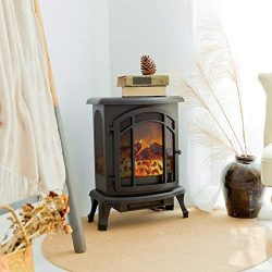 FLAME&SHADE Electric Fireplace Wood Stove – Realistic LED Log Flame Effect – Fre ...