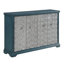 InFurniture AC1835-61-TS Accent Cabinet, Media, Storage, Dark Turquoise/Silver