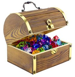 "Wooden Pirate Treasure Chest with 240 Colored ""Jewels"" (Plastic Gems); 6"" x 4.5"" x 5"" Antique St ..."