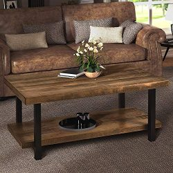 Harper&Bright Designs Easy Assembly Hillside Rustic Natural Coffee Table with Storage Shelf  ...