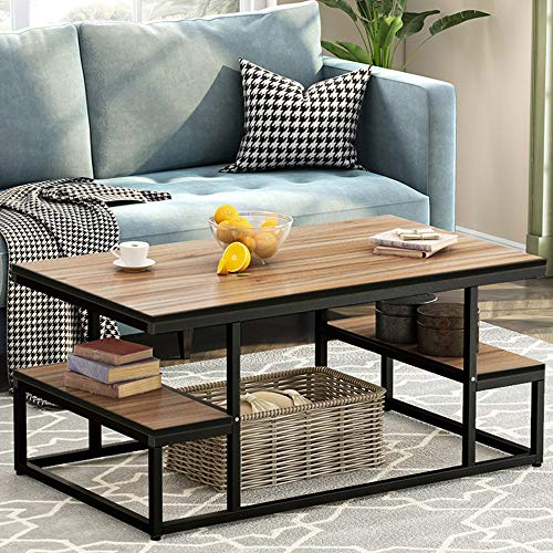 Tribesigns Modern Industrial Coffee Table, 48″ Rectangular Cocktail Table with Open Storag ...