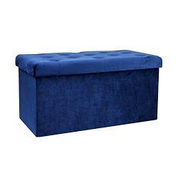 B FSOBEIIALAO Folding Storage Ottoman, Long Shoes Bench, Flannelette Footrest Stool Seat 31.5&#8 ...