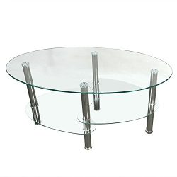 Prountet Tempered Glass Oval Side Coffee Table Shelf Chrome Base Living Room Clear New