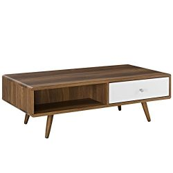 Modway EEI-2528-WAL-WHI Transmit Mid-Century Coffee Table in Walnut, White