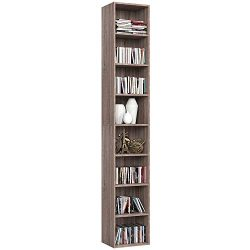 Homfa CD DVD Storage Tower Rack, 8-Tier Wooden Media Storage Organizer Cabinet Unit, 71″ H ...
