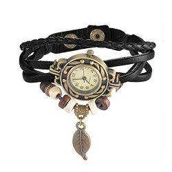 LiPing Brown Retro Weave Wrap Lady Bead Leaf Dangle Bracelet Bangle Quartz Clock Watch (Black)
