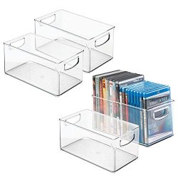 mDesign Plastic Stackable Household Storage Organizer Container Bin Box with Handles – for ...