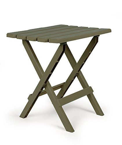 Camco 51884 Sage Large Adirondack Portable Outdoor Folding Side Table, Perfect for The Beach, Ca ...