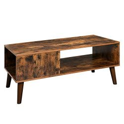 VASAGLE Retro Coffee Table, Cocktail Table, Mid-Century Modern Accent Table with Storage Shelf f ...