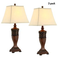Table Lamps for Living Room or Bedroom, Lamp Set of 2, 30″ High Wood Finish Large Vintage  ...