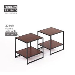 Zinus Modern Studio Collection Set of Two 20 Inch Square Side / End Tables / Night Stands