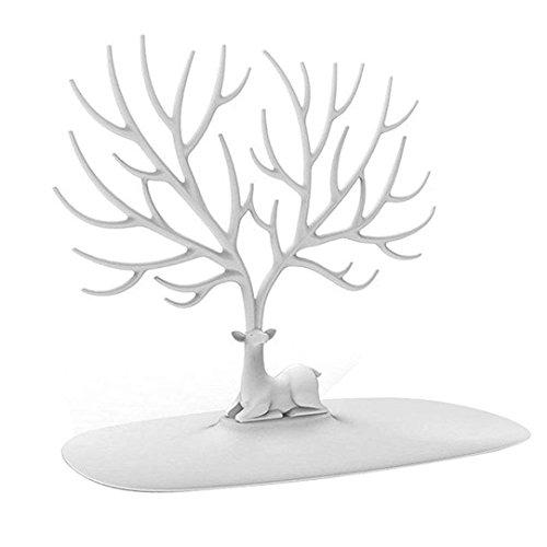 Yezijin Home Decor, Creative Little Deer Jewelry Display Storage Rack Antlers Storage Tree (White)