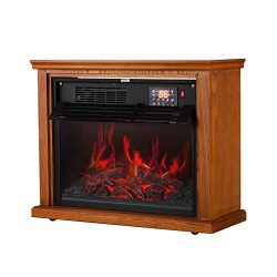 Portable Electric Fireplace Infrared Quartz Heater Adjustable Thermostat 1000W/1500W with Overhe ...